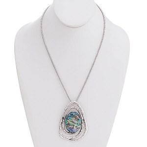 Abalone Shell Pendant Necklace Set
