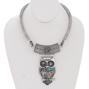Owl Collar Pendant Necklace Set Abalone Shell