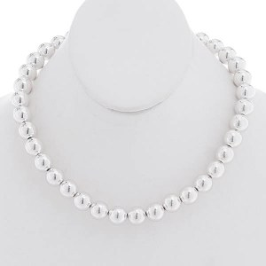 12mm Silver Ball Necklace Set