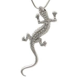 Crystal Lizard Pendant Necklace