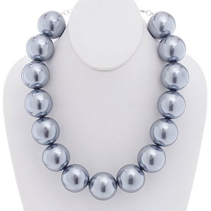 30mm Pearl Necklace Set Grey