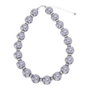 20mm Pearl Necklace Set Grey