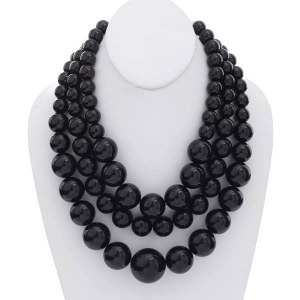 3 Strand Chunky Layered Pearl Necklace Set Black