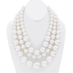 3 Strand Chunky Layered Pearl Necklace Set White