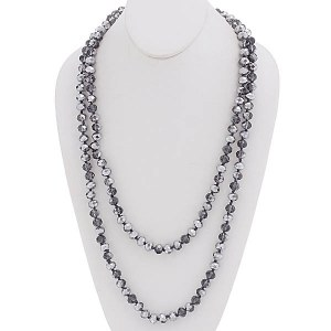 "60"" Bead Necklace Metallic Gray"