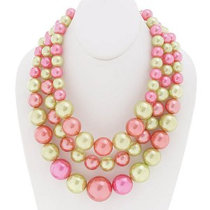 3 Strand Chunky Layered Pearl Necklace Set Pink/Lime
