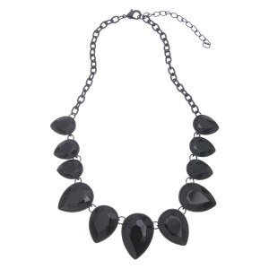 Graduating Crystal Teardrops Necklace Set Black