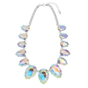 Graduating Crystal Teardrops Necklace Set AB/Silver