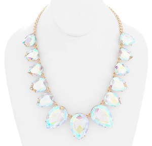 Graduating Crystal Teardrops Necklace Set AB/Gold