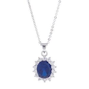 Oval CZ Sapphire Pendant Necklace