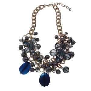 Double Flower Pearl & Stones Statement Necklace Set Blue