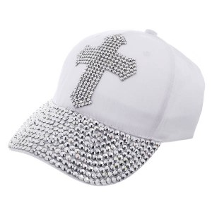 Rhinestone Studded Cross Baseball Cap White