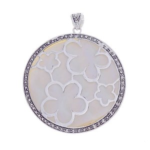 Floral Cut Out Circle Pendant White