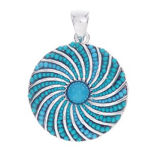 Round Beaded Pinwheel Slide Turquoise