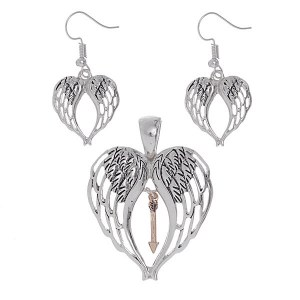 Angel Wing Silver Pendant Set