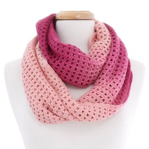 Ombre Knit Eternity Scarf Pink