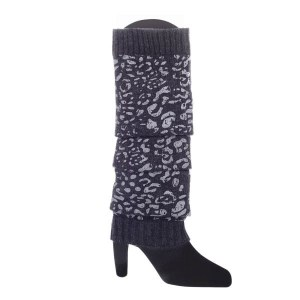 Sparkly Wool Blend Leopard Print Leg Warmers Grey