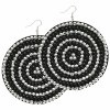 Large Round Felt Earrings Black/ Silver Circles