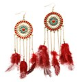 TRENDY FEATHER EARRING RED