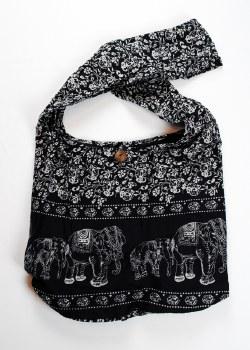 Black Elephant Print Shoulder Bag