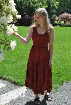 Corset Top Dress Rust Color