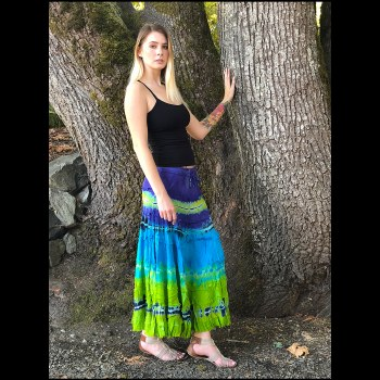 Tier Layered Skirt Blue Tie Dy