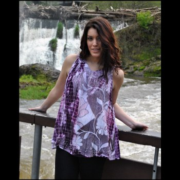 V Neck Embroidery Top Purple