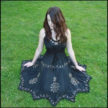 Embroidered Corset Dress Black
