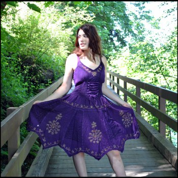 Embroidered Corset Dress Purple