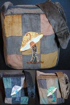 Corduroy Shoulder Bag with Mushroom Embroidery Brown