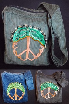 Tree of Life Embroidered Corduroy Shoulder Bag Green