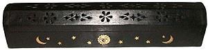 Black Wood Coffin Incense Burner