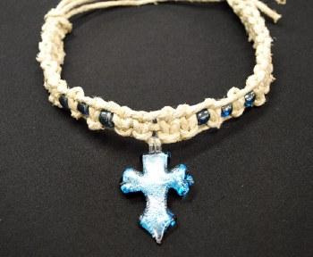 Blue Cross Pendant on Thick Hemp Choker