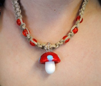 Red Mushroom Glass Pendant on a Hemp Necklace