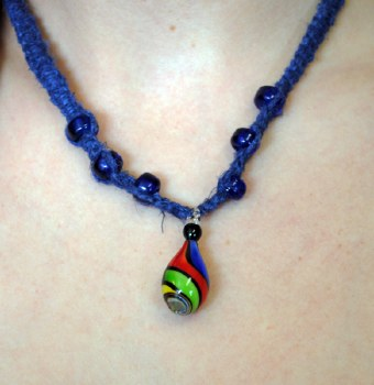 Blue Hemp Necklace with Rainbow Twist Pendant