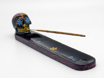 Sugar Skull Black Day of the Dead Incense Burner
