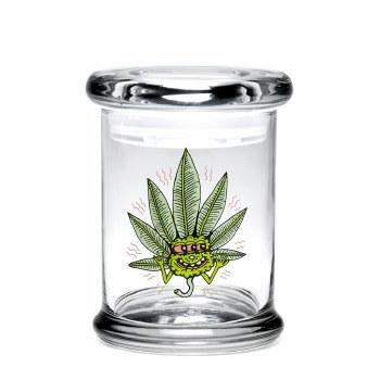 420 Science Pop Top Stash Jar Small Happy Leaf