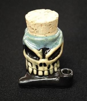 Skull Ceramic Hand Pipe Stash Jar
