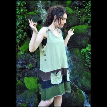 Peace Button Dress Green