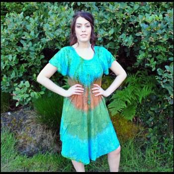 Short Sleeve Tie Dye Dress Aqu