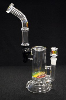 """12"""" Tall Hand Blown Glass Rasta Griddle Perc Bubbler"""