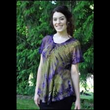 Tie Dye Lace Up Top Prp/Grn