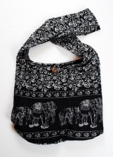 Black Elephant Print Shoulder Bag