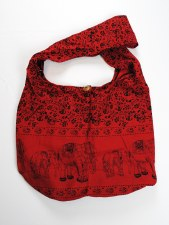 Red Elephant Print Shoulder Bag