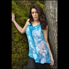 V Neck Embroidery Top Blue