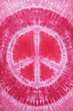 Pink Peace Sign Tie Dye Tapestry