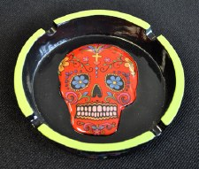 Red Day of the Dead Sugar Skull Ashtray