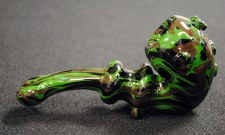 "6.5"" Long Camouflage Hand Blown Glass Sherlock Pipe"