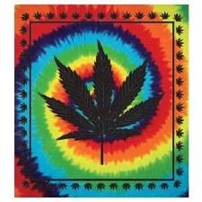 Tie Dye Hemp Leaf Tapestry