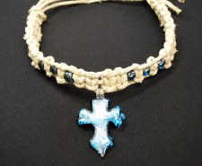 Blue Cross Pendant on Thick Hemp Choker
